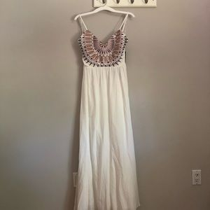 NWT lulus white maxi dress with crochet top